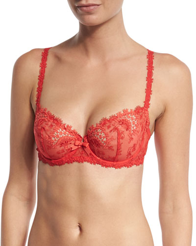 Wish Lace Demi Cup Bra, Rouge