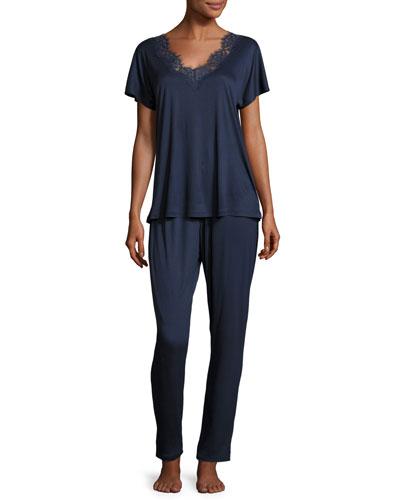 Livia Lace-Trim Pajama Set