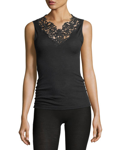 Pure Opulence Lace-Trim Lounge Tank