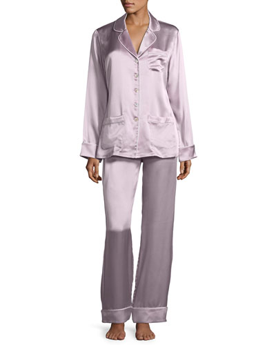 Coco Amethyst Long Silk Pajama Set