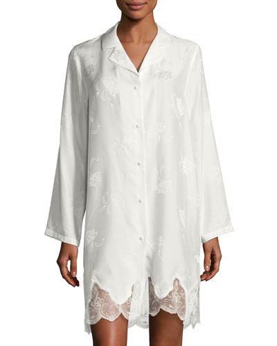 Orchid Paradis Long-Sleeve Satin Sleepshirt