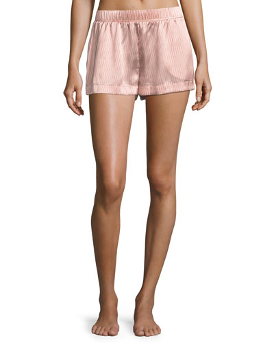 Rose Matchstick Silk Pajama Shorts