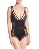 Lattice Silk-Blend Bodysuit