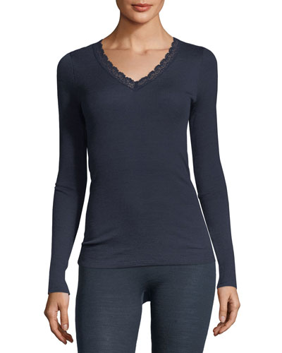 Lace-Trim Long-Sleeve Wool/Silk Top
