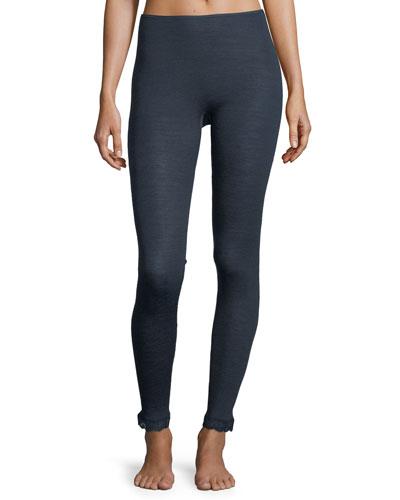 Wool-Silk Thermal Lace-Trim Leggings