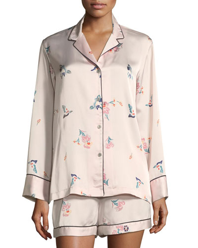 Papillon Floral-Print Satin Short Pajama Set