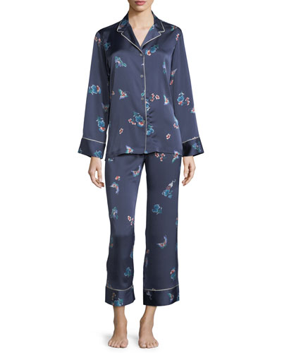 Papillon-Print Long Pajama Set