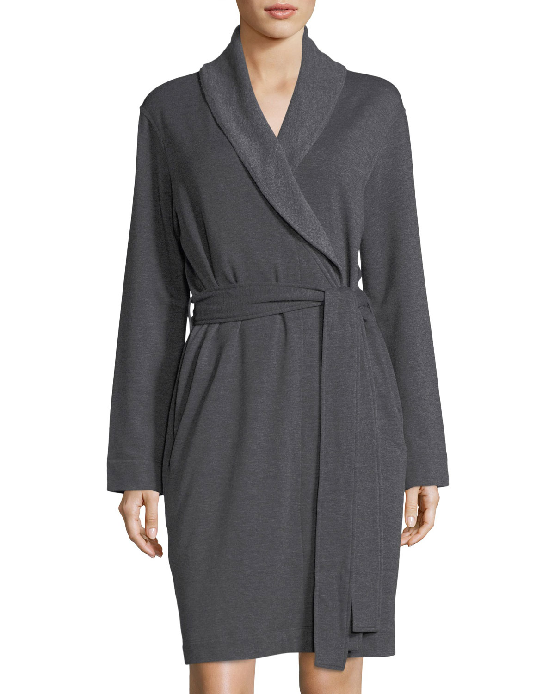 Brushed-Knit Short Robe