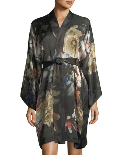 Dark Romance Short Silk Kimono Robe