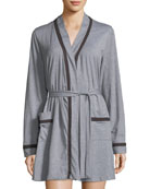 Hustle Contrast-Trim Short Robe