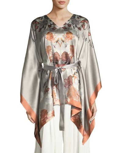 Floral-Print Silk Kimono-Sleeve Lounge Top