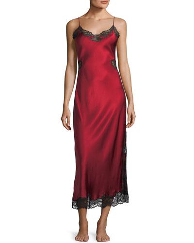 Camilla Lace-Inset Silk Nightgown