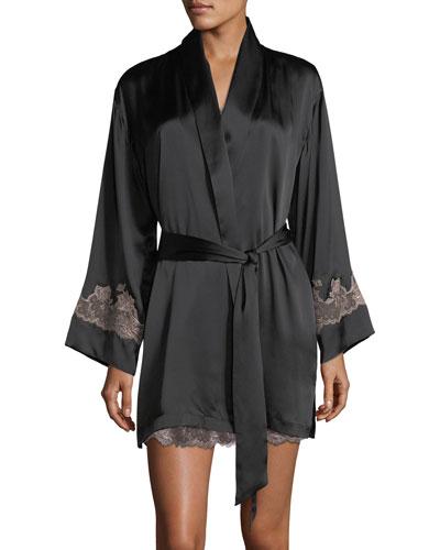 Lolita Lace-Trim Silk Short Robe