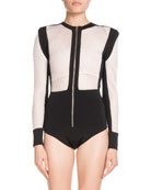 Balmain High-Waist Asymmetric Stretch-Leather Skirt w/ Lace Hem