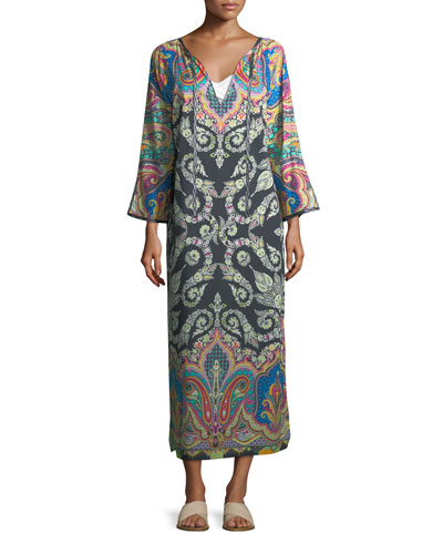 Long-Sleeve Split-Neck Caftan Maxi Dress