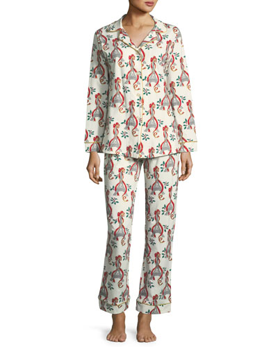 Holly Eiffel Tower Print Long Pajama Set
