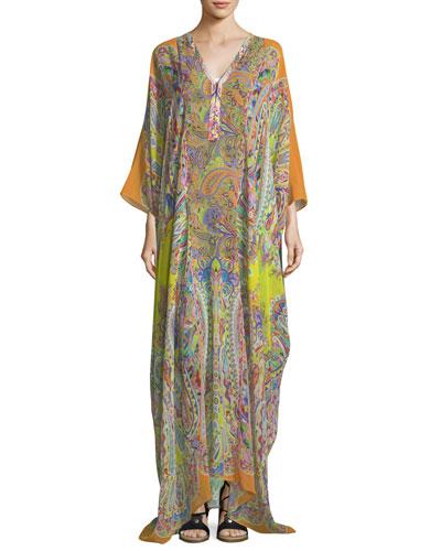 V-Neck Long-Sleeve Printed Long Silk Kaftan Coverup
