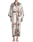 Floral-Print Silk Kimono Robe