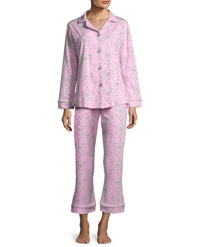 Painted Damask Long-Sleeve Classic Pajama Set