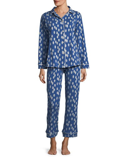 Ikat Dot Long-Sleeve Classic Pajama Set, Plus Size