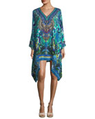 V-Neck Long-Sleeve Embellished Silk Kaftan, One Size