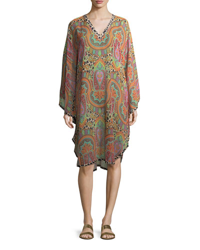 V-Neck Long-Sleeve Printed Silk Caftan Coverup