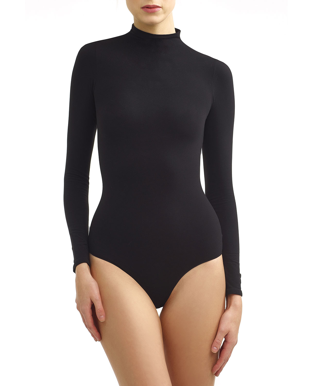 Mock-Neck Long-Sleeve Ballet Bodysuit