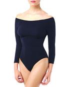 Off-the-Shoulder Ballet Bodysuit