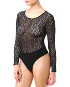 Floral Lace Long-Sleeve Bodysuit