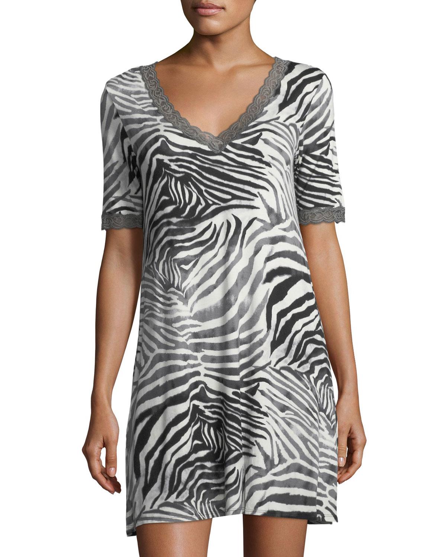 Feathers Zebra-Print Sleepshirt