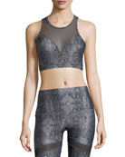Dahlia Venom High-Neck Mesh Racerback Sports Bra
