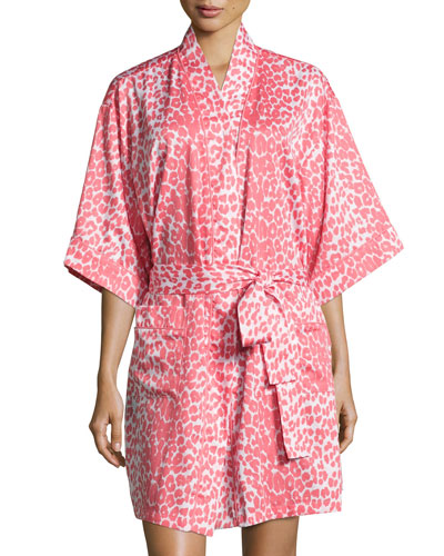 Wild Thing Short Kimono Robe, Coral/Ivory