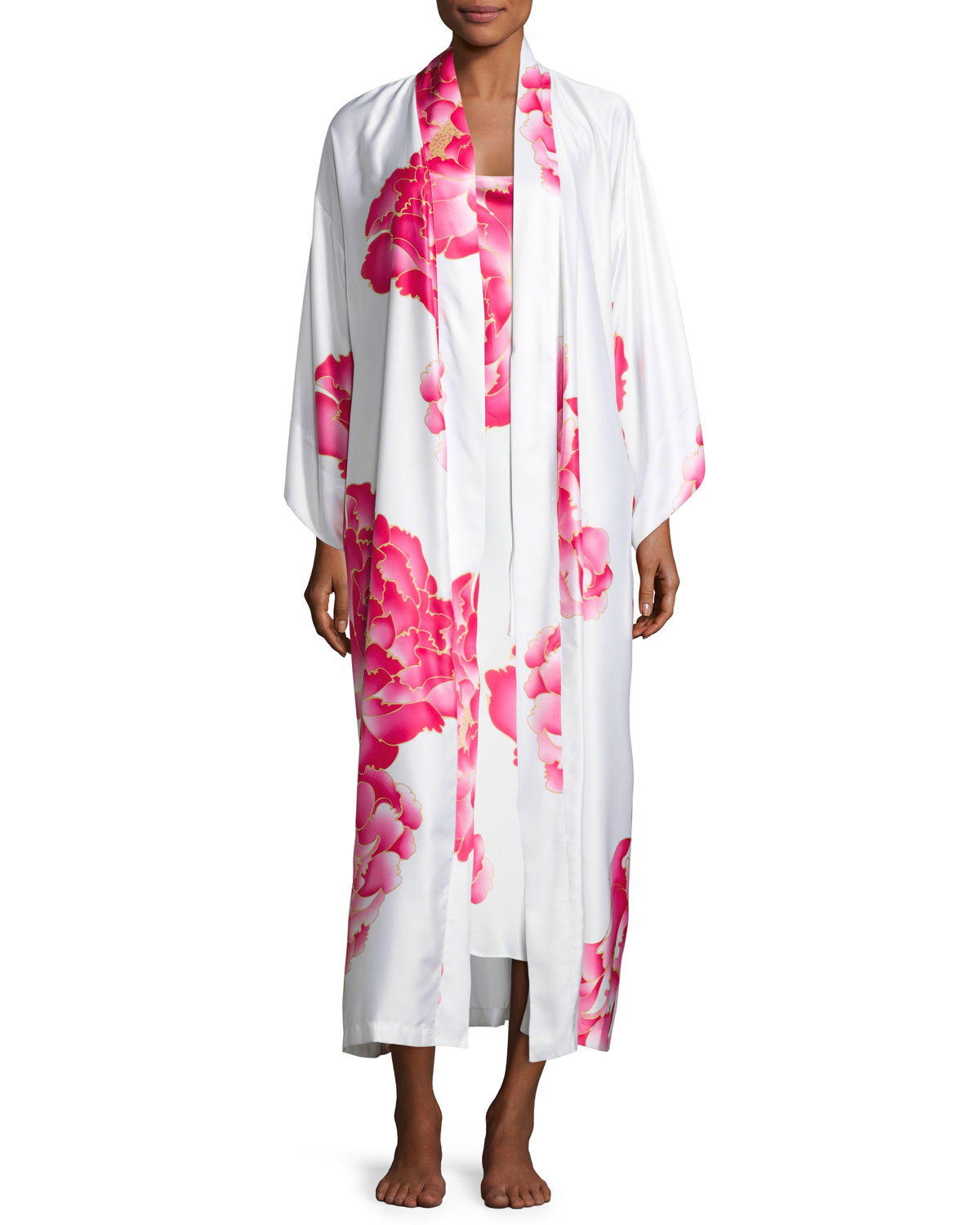 Peony Long Satin Robe, Multi Pattern