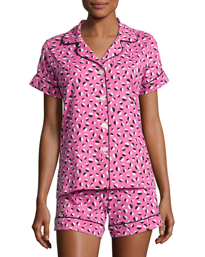 Demi Ball Dot Shorty Pajama Set, Fuchsia/Black