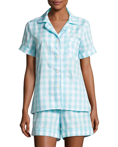 Gingham Shortie Pajama Set, Aqua, Plus Size
