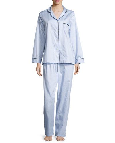 Fine Striped Long-Sleeve Pajama Set, Blue/White