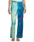 Floral Stream Lounge Pants, Blue Multi