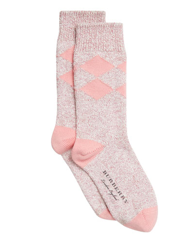 Marbled Diamond-Pattern Cotton Socks, Rose