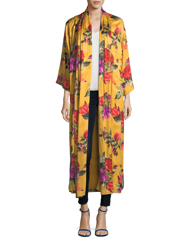 Kalena Floral-Print Open-Front Long Draped Kaftan