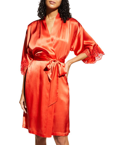 Splendeur Lace-Trim Silk-Blend Robe