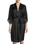 3/4-Sleeve Caresse Satin Robe