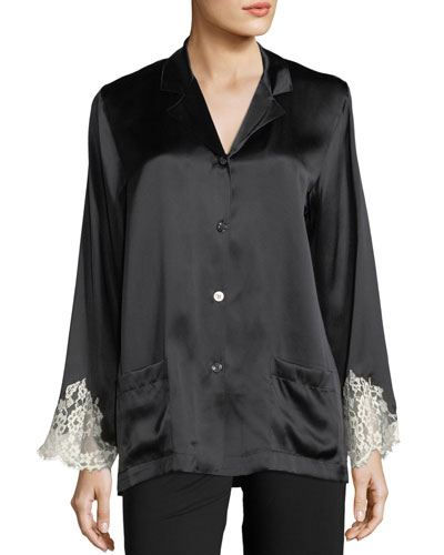 Lace-Trim Silk Button-Front Lounge Top