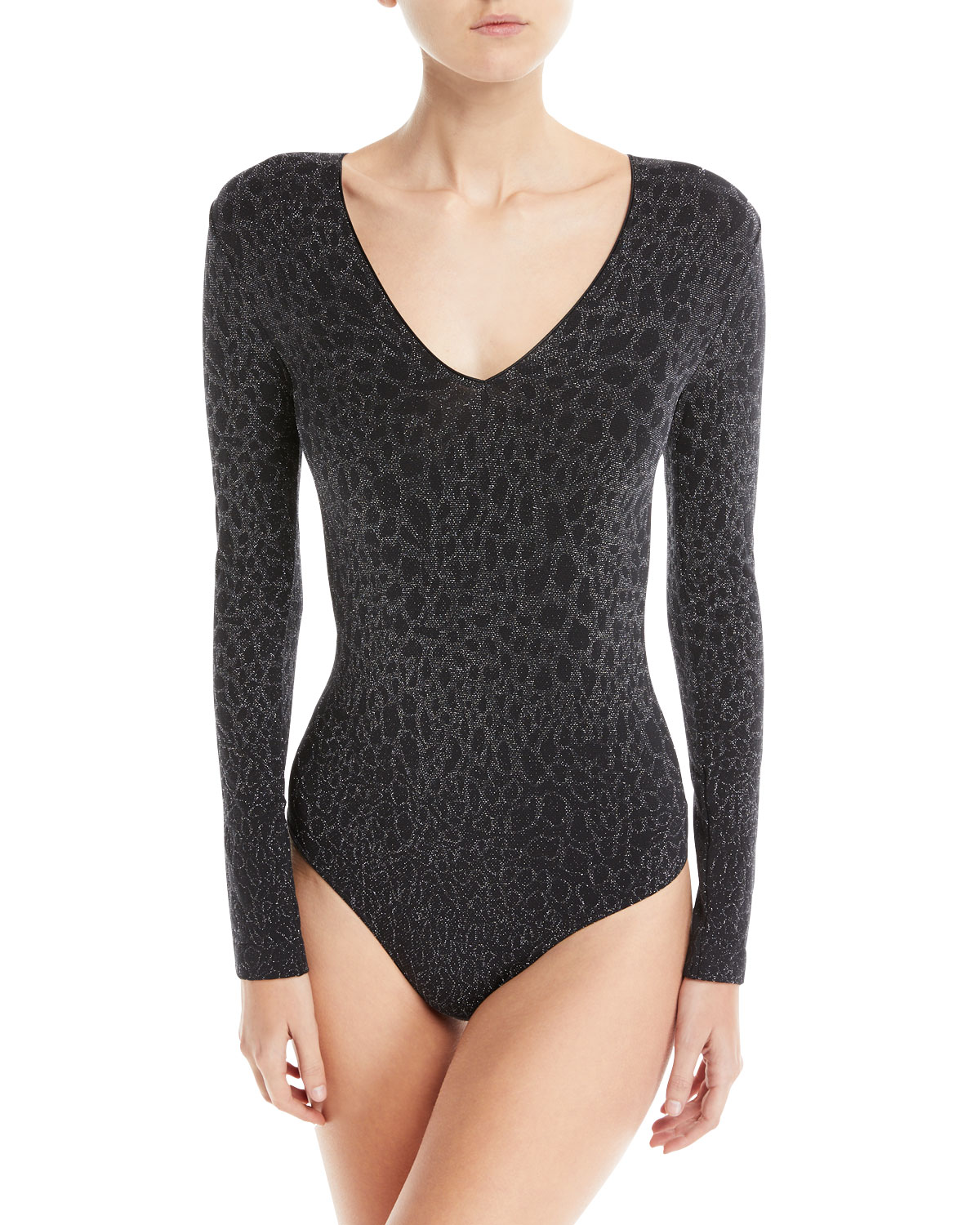 Metallic Animal-Print String Bodysuit