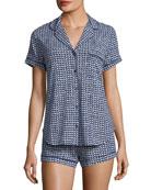 mini hearts-print short pajama set