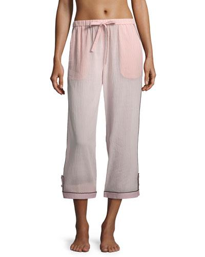 Petal Pinstriped Crop Pajama Pants