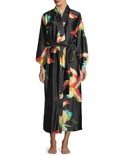 Vermillion Bird-Print Satin Long Robe