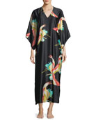Vermillion Bird-Print Satin Caftan