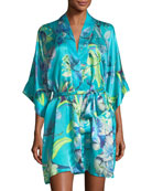 Capri Floral-Print Short Robe