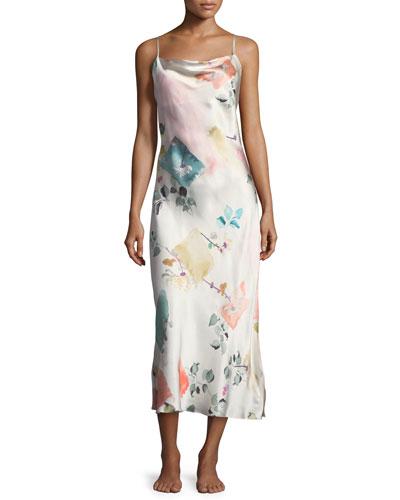 Watercolor Print Sleeveless Silk Nightgown
