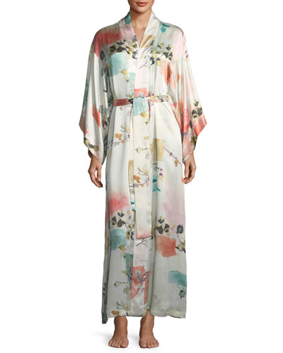 Watercolor Floral Long-Sleeve Silk Robe